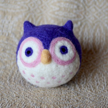 needle felted owl ball