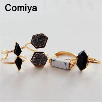 Geometric black stone accessories fashion gold colors zinc alloy anel rings for lady m