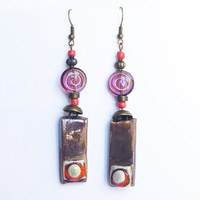 Orange Purple long earrings dangle / Hippie Boho chic / geometric mandala zen style / bohemian jewelry