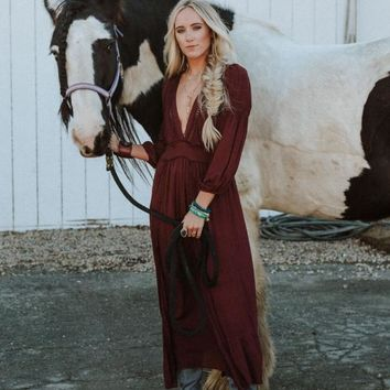 Serendipity Deep V Maxi Dress - Burgundy