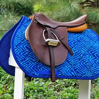 Ready to Ship - Royal Blue and Aqua Geometric Batik Close Contact Saddle Pad