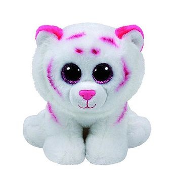 "Pyoopeo Ty Beanie Babies 6"" 15cm Tabor the Pink & White Tiger Plush Stuffed Animal Collectible Soft Doll Toy"