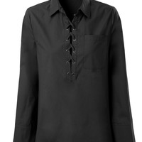LE3NO Womens Oxford Oversized Long Sleeve Lace Up Front Shirt