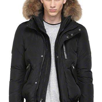 Mackage Men's harvey-f4 down bomber jacket with fur hood/black