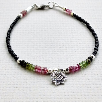 Watermelon Tourmaline and sterling silver bracelet, gemstone and charm bracelet, lotus charm bracelet, gemstone beaded bracelet,
