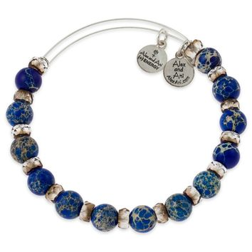 Blue Raspberry Carousel Beaded Bangle