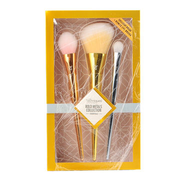 Brand 3 Pcs Makeup Brushes BOLD METALS COLLECTION ESSENTIALS Powder Blush Shadow Contour Brush