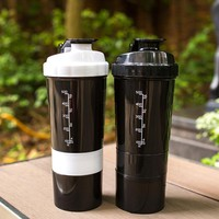 sports nutrition Whey Protein Shaker Blender Mixer Sports Fitness gym 3 Layers Multifunction 600ml BPA free Shaker Water Bottles