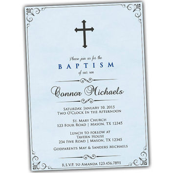 Vintage Watercolor Powder Blue Baptism Invitations - Religious - Mint Green - Cross - Christening Announcement - Boys Spanish Communion