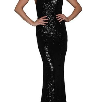Sexy Black Crossover Low Back Sequin Gown