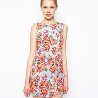 New Look Neon Floral Cap Sleeve Tunic