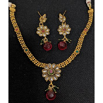 Traditional Gold imitation Flower Choker Necklace and Earring set