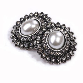 Stud Earrings 2016  Fashion Big Round Retro Pearl Rhinestones vintage jewelry Earrings for Women from india bohemian