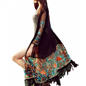 Long Sheer Boho/Hippy Style Cardigan