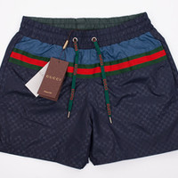 Mens Swim Shorts, Dark Blue Gucci Swim Trunks