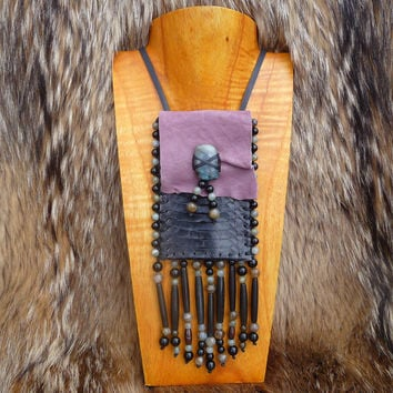 Black Boa Snake Skin and Mauve Purple Goat Leather Medicine Bag Pouch Necklace, Labradorite and Obsidian Beaded