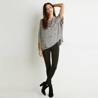 Gray Cowl Neck Batwing Loose Knit Sweater