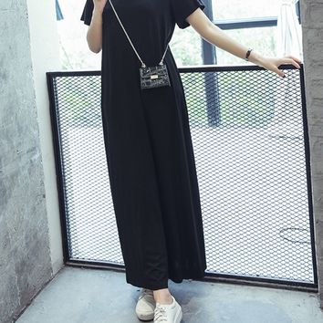 Streetstyle  Casual Casual Loose Open Shoulder Solid Maxi Dress