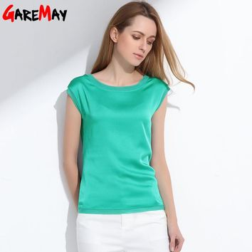 Summer women blouses new casual chiffon silk blouse slim sleeveless O-neck tops shirts solid 6 color