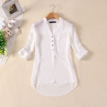 Women Spring Summer V-neck Chiffon Long Sleeve Casual elegant Shirt Blouse NEW = 1958036484