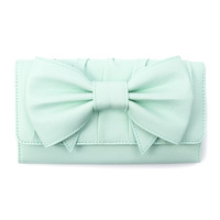 Pebbled Faux Leather Wallet with Bow