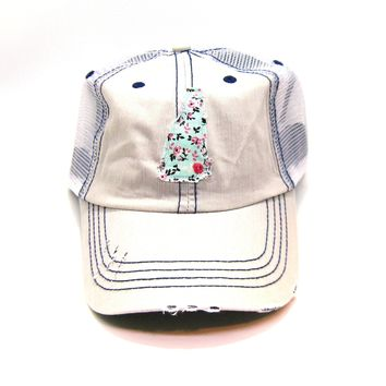 New Hampshire Trucker Hat - Distressed - Floral Fabric State Cutout