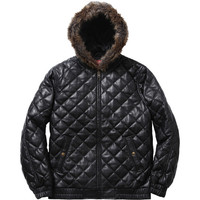Supreme: Quilted Leather Hooded Jacket - Black