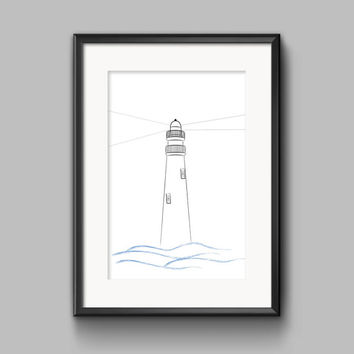 Lighthouse, Monochrome Print Wall Art Decor, Black and White, digital print, gender neutral,kids prints, kids decor, decor