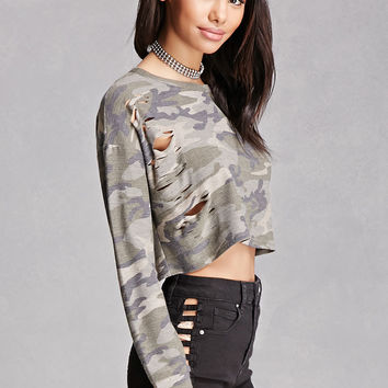 Distressed Camo Print Crop Top