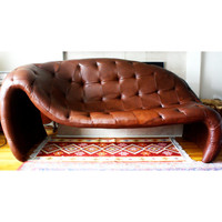 Tufted Leather Chaise Love Sofa