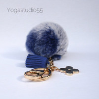 Pom-Perfect Frosted Blue REX Rabbit fur pom pom ball with black flower keychain and navy tassel