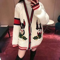 """""""Gucci"""" Women Casual Double Dog Embroidery Multicolor Stripe Long Sleeve V-Neck Cardigan Knitwear Sweater Coat"""