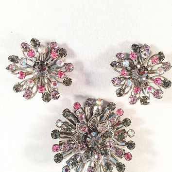 Pastel Jeweled Brooch And Matching Earring Set, Starburst, Aurora Borealis Rhinestones, Vintage Jewelry, Gorgeous Set