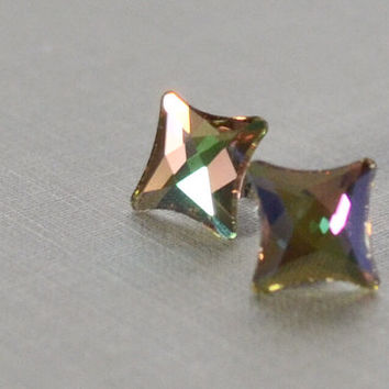 Star Rhinestone Studs, Luminous Green, Cosmic Delta, Crystal Studs, Swarvoski Rhinestone, Bridesmaid Earrings, Petite and Dainty