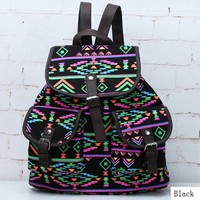 Generic New Vintage Floral Ladies Canvas Bag/School Bag/Backpack (Black)