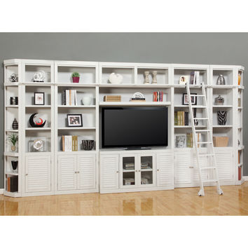 Boca Library Entertainment Wall Ladder 8 Piece Cottage White