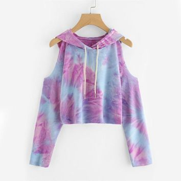 Autumn Multicolor Tie Dye Top Cold Shoulder	Long Sleeve Cute T Shirt