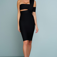 Vicky One Shoulder Choker Bandage Dress - Black