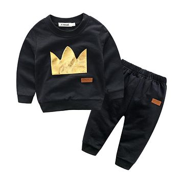 New arrival baby boy clothing sets Fashion infant baby clothes boy sport suit set crown cotton sweatshirts+casual trousers