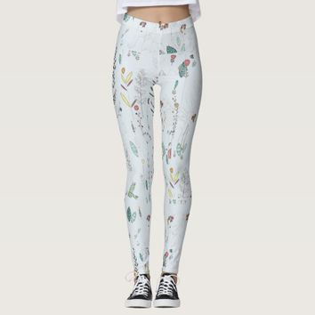 Pastel Blue Flowers Leggings