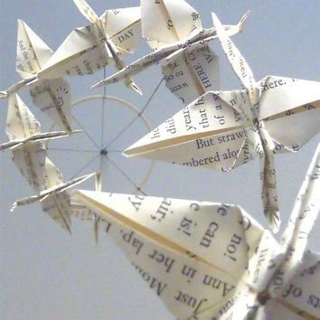 Bookish Crane Mobile by SpareBedroomStudio on Etsy