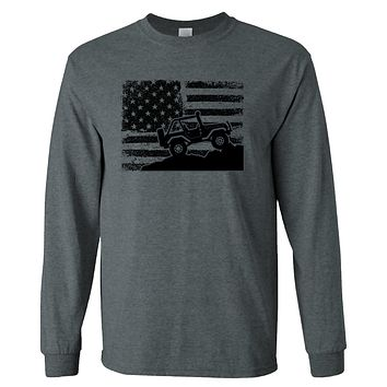 American  Flag 4X4 Off-Road on a Long Sleeve Dark Heather T Shirt