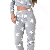 Womens Rita Light Grey Multiple Star Print 2 Piece Tracksuit (Mtc)