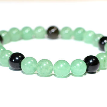 Gemstone Beaded Bracelet with Green Jade and Tiger Eye - BB708
