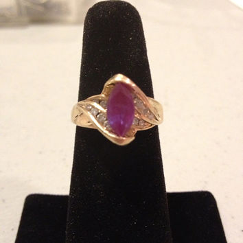 10K Alexandrite Diamonds Ring Size 7 Gold YG Purple Pink Stone 1.25 CT Carat Sparkly Vintage Estate Radiant Orchid Mauve Bridal Jewelry