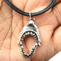 Antique Silver Shark Necklace Black Cord Choker with Charm