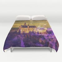 Yellow and Purple Neuschwanstein Castle (Square) Duvet Cover by Christine Aka Stine1
