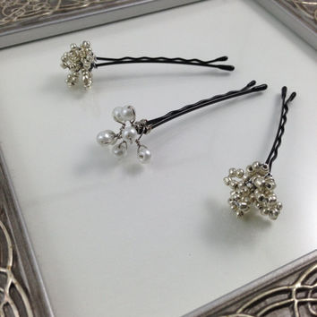 Silver & Pearl Beaded Cluster Bobby Pins - Wedding Hair Accessories - Set of Three - Perfect for the Holidays