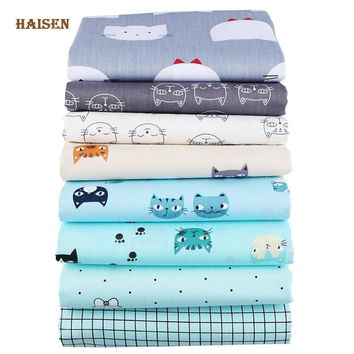 Haisen,Cat Printed Twill Cotton Fabric For DIY Quilting Sewing/Baby Bedding/Dress/Skirt Cloth Cartoon Tissue Material Half Meter