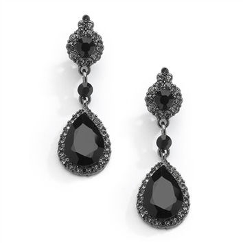 The Baroness, Vintage Style Black Crystal Earrings with Teardrop Dangles
